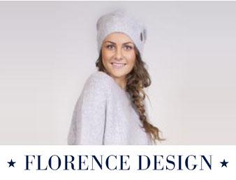 Bilde av dame med hvit lue og genser fra Florence Design. Bildet brukt som knapp til kategorien Florence design i nettbutikken